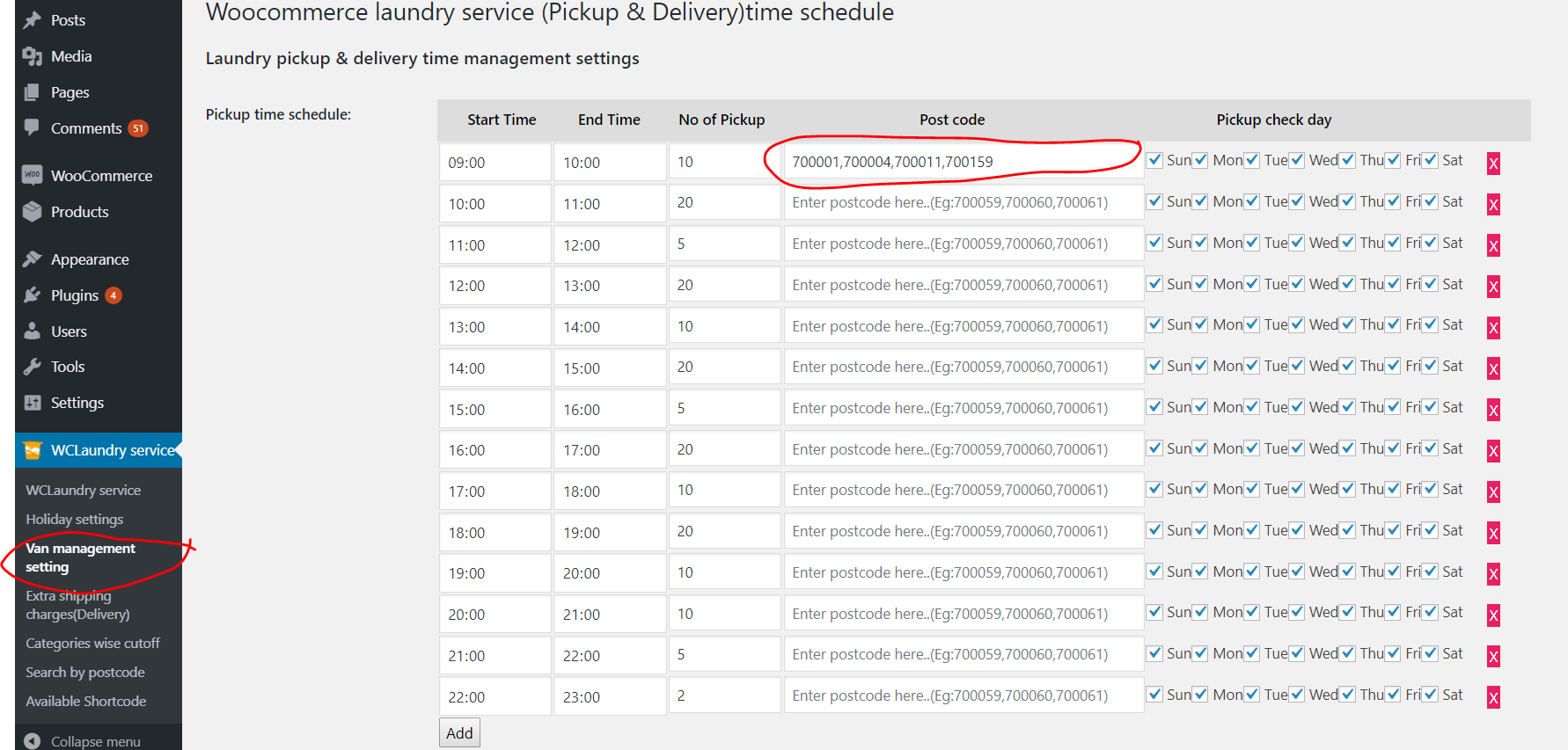 Navigate to Van Management Settings, create time slots and assign to to certain zip codes.