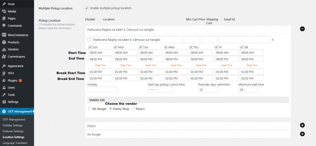 Locattion settings for WooODT Extended for Multi Vendor