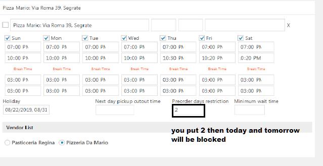 Pre Order day restriction for WooODT Extended for Multi Vendor