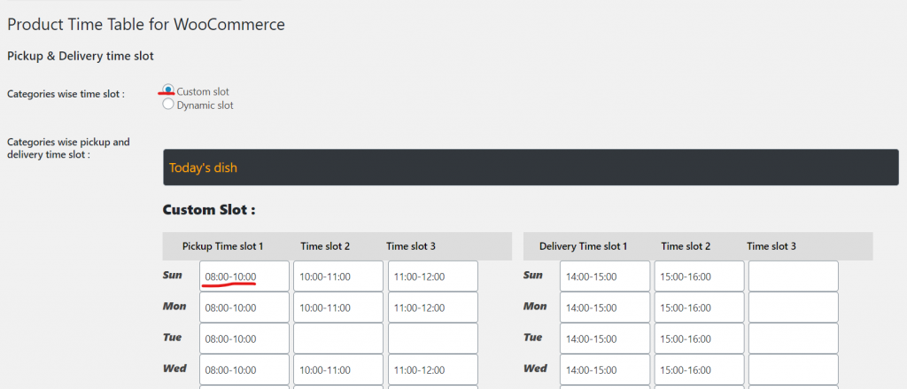 Product wise Time Table slots